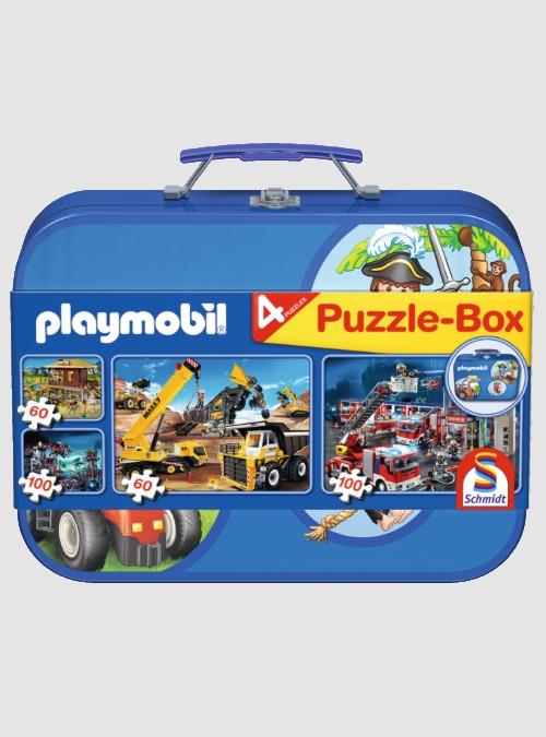 55599-Παζλ σε Μεταλλικό Βαλιτσάκι: Playmobil, 2Χ60 & 2Χ100 τεμ.