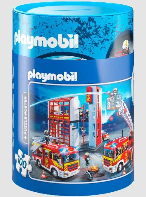 56914-Παζλ Κουμπαράς: Playmobil, Πυροσβεστική, 100 τεμ.