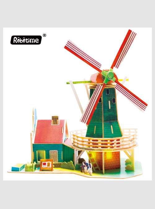 ROSJ305-dutch-windmill-wooden-3d-puzzle-robotime
